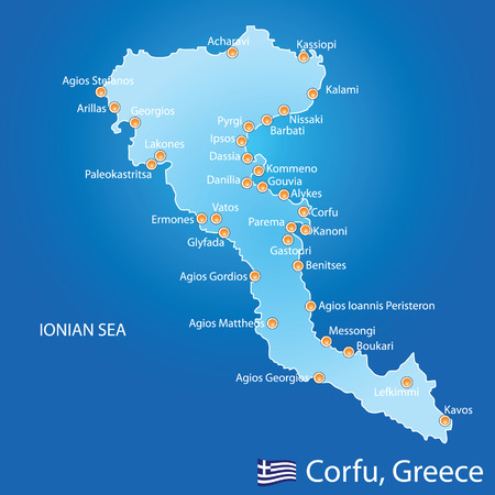 aegean: Island of Corfu in Greece on blue background Illustration