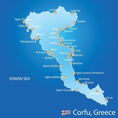 skiathos: Island of Corfu in Greece on blue background Illustration