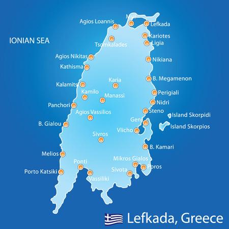 greek islands: Island of Lefkada in Greece map on blue background Illustration