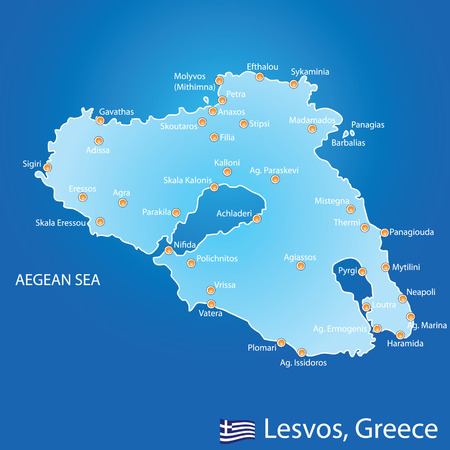 aegean: Island of Lesvos in Greece map on blue background