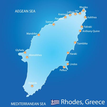 Eiland Rhodos in Griekenland kaart op blauwe achtergrond