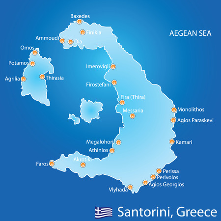 aegean: Island of Santorini in Greece map on blue background
