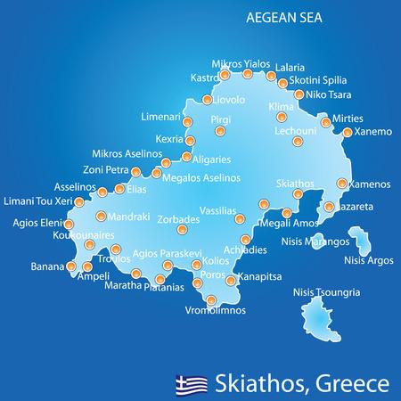 greek islands: Island of Skiathos in Greece map on blue background