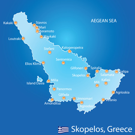 aegean: Island of Skopelos in Greece map on blue background Illustration