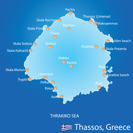 thassos: Island of Thassos in Greece map on blue background