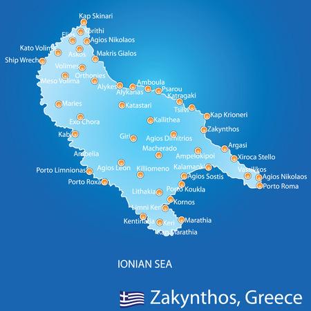 skiathos: Island of Zakynthos in Greece map on blue background