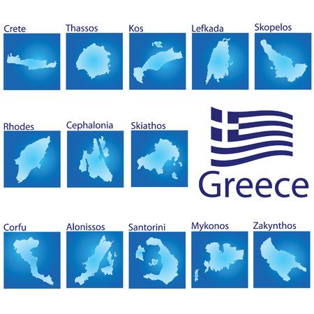 eiland kaart op Griekenland vector illustratie op blauwe achtergrond