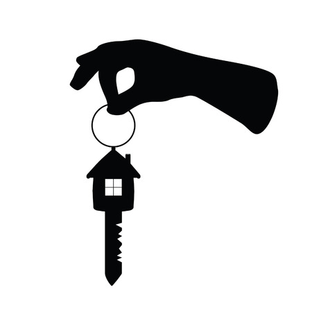 dwell: key with house on it and arm vector illustration