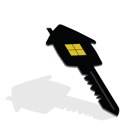 dwell: key with house on it vector illustration Illustration