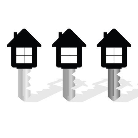 sleutel met huis op het vector illustratie