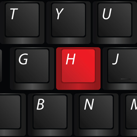 keyboard with red h sign vector illustration Vector
