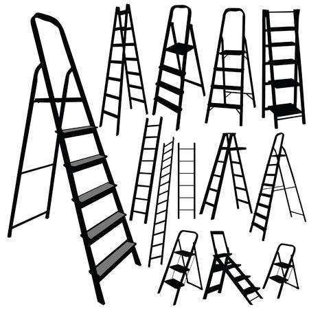 ladder vector silhouet in zwarte kleur op wit Stock Illustratie
