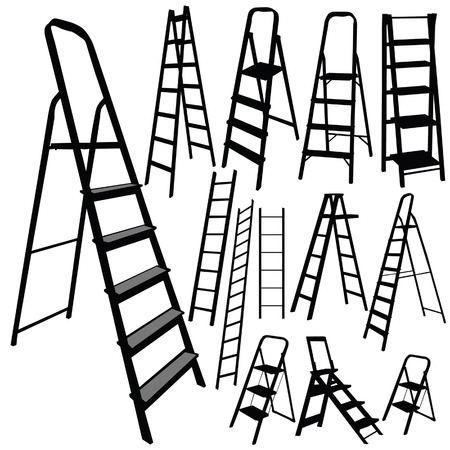 step ladder: ladder vector silhouette in black color on white