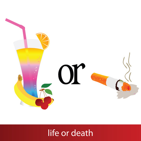 leven en dood: leven of dood illustratie teken op witte achtergrond Stock Illustratie