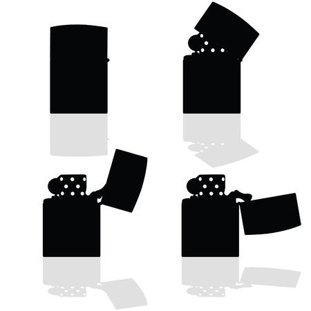 lighter: lighter in four positions open vector silhouette