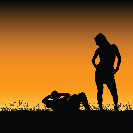 nude outdoors: man and woman in the nature vector illustration