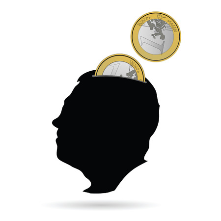 capitalismo: man head as a piggy bank vector illustration on white