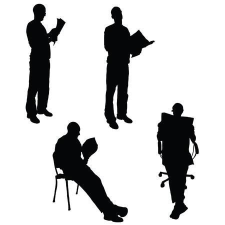 man reading: man reading the newspaper vector silhouette on white Illustration
