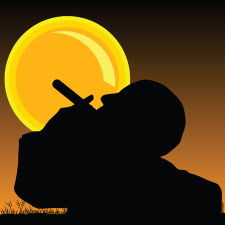 sun illustration: man smoking cigarette and sun illustration vector