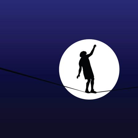 tightrope: man lopen een koord in het maanlicht Stock Illustratie