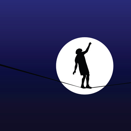 high tension: man walking a tightrope in the moonlight