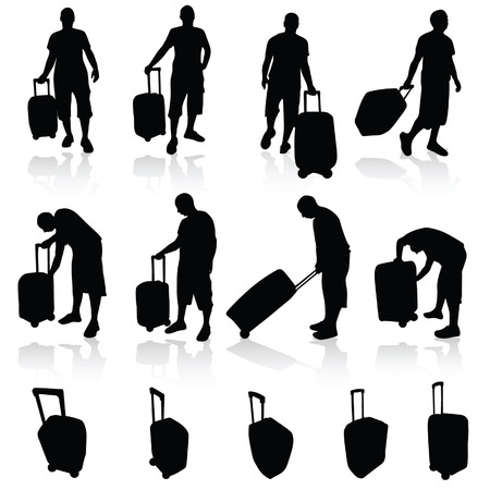 trolley case: man with bag silhouette vector travel illustration