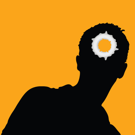 ricochet: man head and hole on it illustration vector on orange eps10