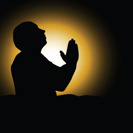 demanded: man praying black silhouette art vector illustration