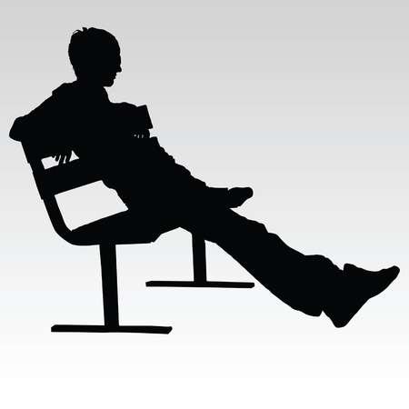 cuddling: man sitting on a bench and resting vector silhouette