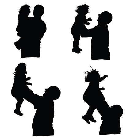 father and son holding hands: man throws baby into the air silhouette illustration