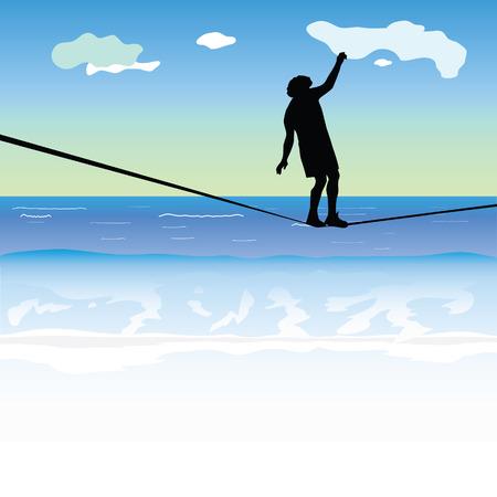 tightrope: man lopen op het slappe koord boven de zee vector illustratie