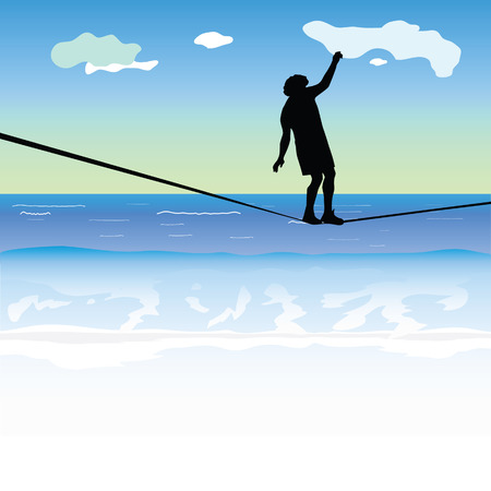 high tension: man walking on the tightrope above the sea vector illustration