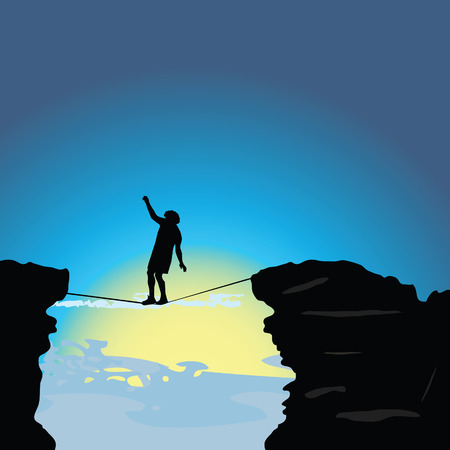 high tension: man walking on tightrope art vector illustration