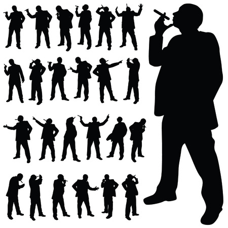 man with a cigarette in various poses black silhouette Vector