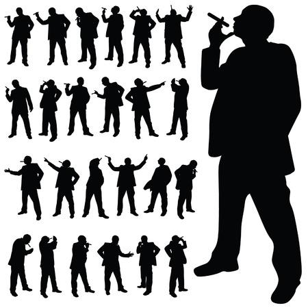 Uomo con una sigaretta in varie pose silhouette nera Archivio Fotografico - 34023908
