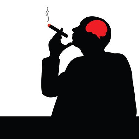 carcinogen: hombre con cigarro ilustraci�n vectorial