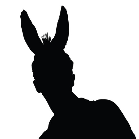 mature business man: man with donkey ears vector illustration