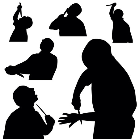 stabbing: man with knife silhouette in black color on white Illustration