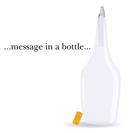 castaway: message in a bottle vector illustration on a white background