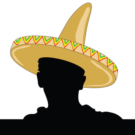 mexican man silhouette with sombrero vector illustration Vector