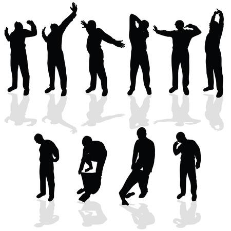 Mattina stretching e indossare un pigiama nero vettore silhouette Archivio Fotografico - 34056908