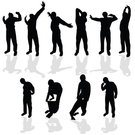 tiredness: morning stretching and wear pajamas black vector silhouette