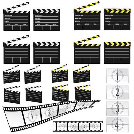 film title: movie clapper white and yellow illustration and film