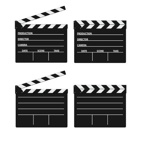 flick: movie clipper white vector on white background Illustration