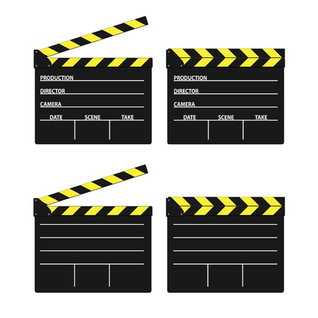 flick: movie clipper yellow vector on white background Illustration