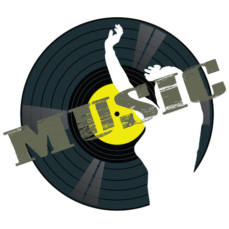 Musique panneau avec une fille illustration vectorielle sur un fond blanc Banque d'images - 34056912