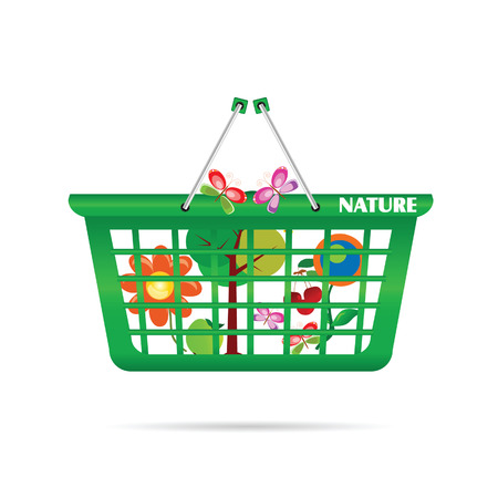 eco flowers basket: nature basket with butterfly vector illustration