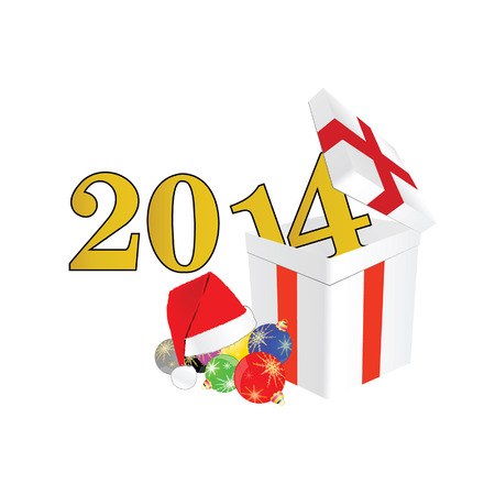 suprise: new 2014 year with christmas ball and suprise vector illustration