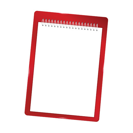 spiral notebook: notebook blank with spiral vector red illustration Illustration