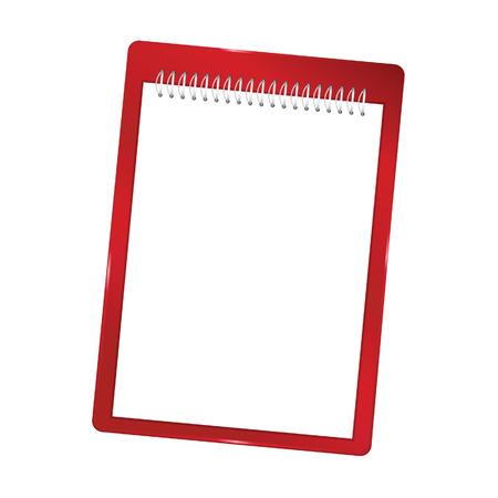 notebook leeg met spiraal vector rode illustratie